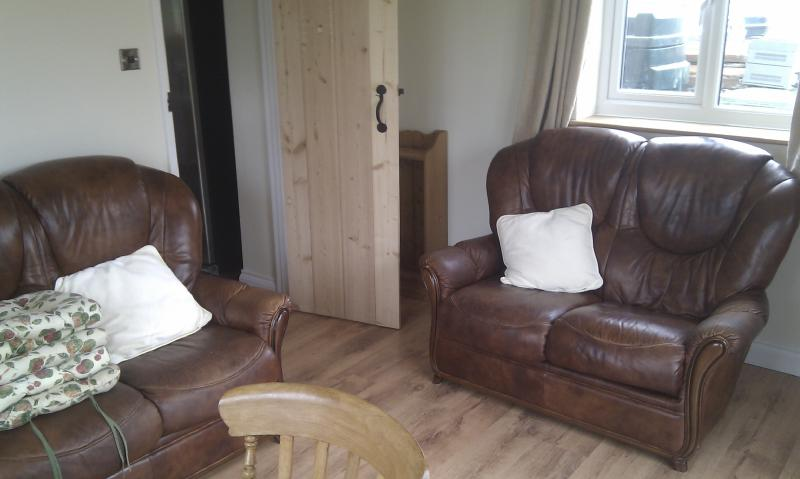 View of sitting area in dining room (sofas now changed including a recliner; new photo to follow)