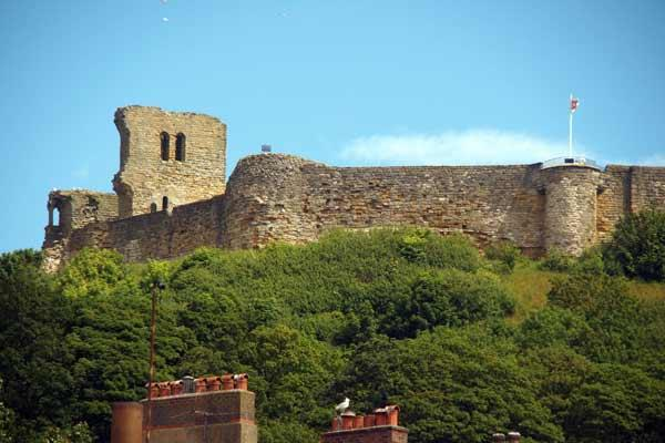 Scarborough castle seen from the front of the apartment