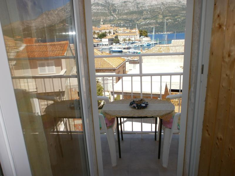 apartment comfort with a sea view and a view towards the old town of Korcula
