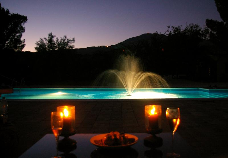Pool and Mount Etna by Night