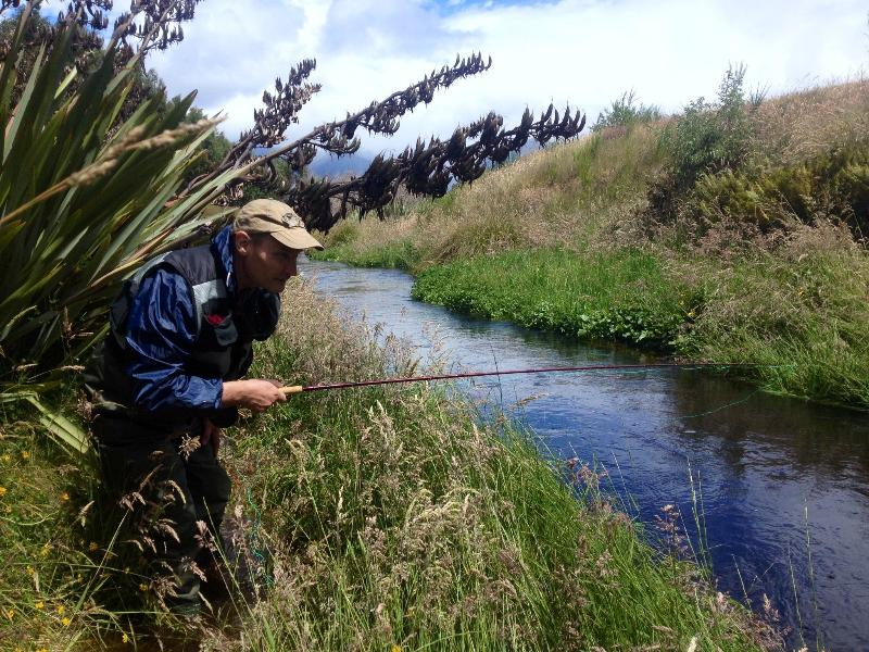 Sneaking along the bank and hoping to land a dry fly successfully.