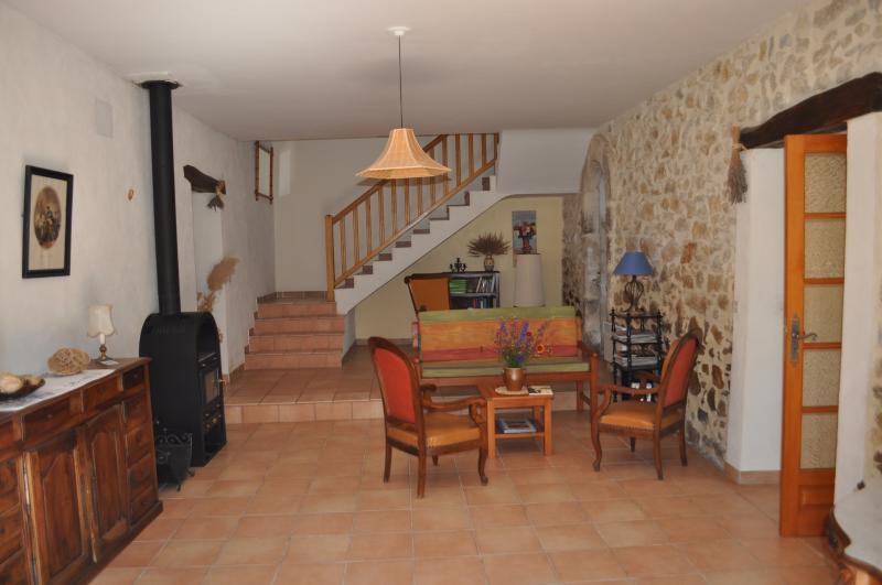 living room / wood stove