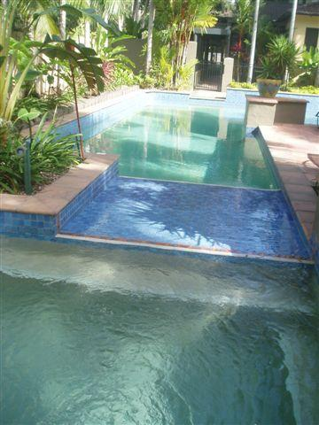 sparkling blue pool and heated spa