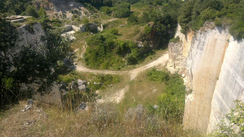 Cave Romanae - quarry now used for freeclimbing, once provided stone for building Arena and Venice