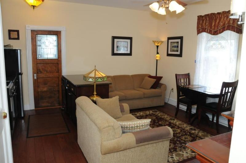 Queen and Twin Size Sleeper Sofas, Antique leaded door leads to sitting room and roof deck