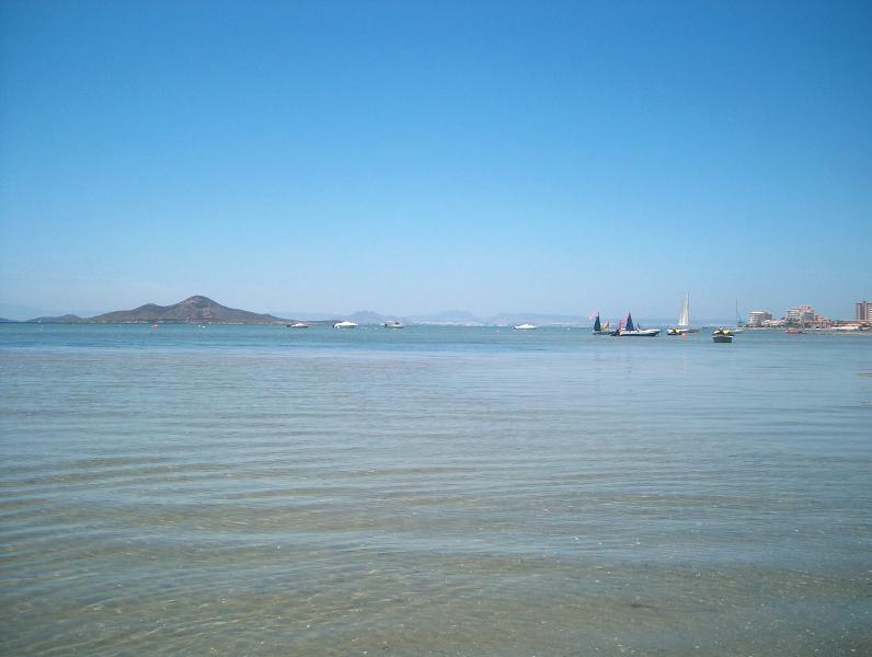 One of the shallow beaches of the nearby Mar Menor Sea