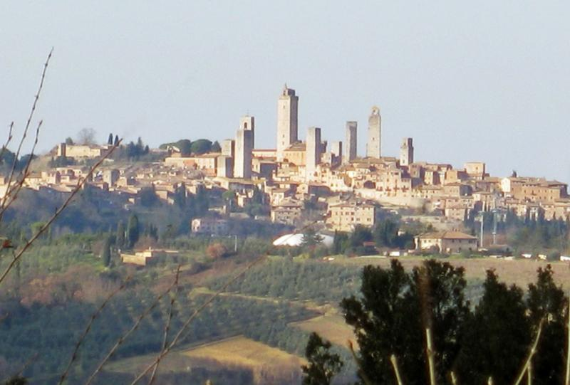 View of San Gimignano from the pool