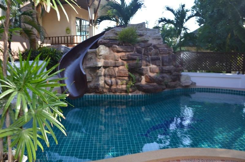 Waterfall and water slide