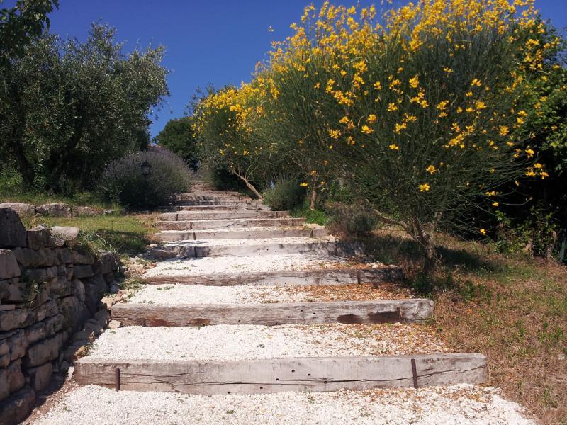 Ampla etapas através de árvores de lavanda e vassouras mediterrânicas da piscina para a casa