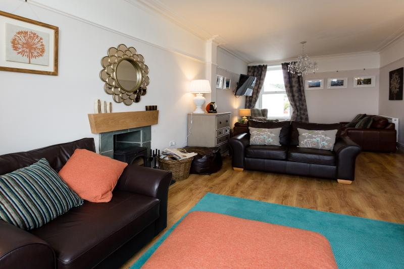 Large Lounge with Fabulous Sea Views and Woodburner