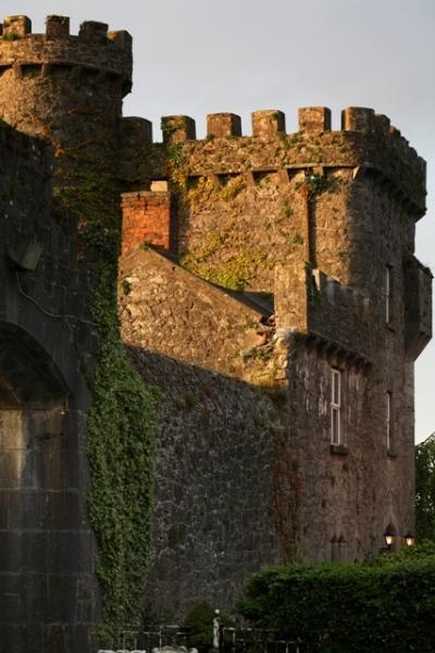 Side view of Fanningstown Castle, the old stone round tower dates from the 12th Century