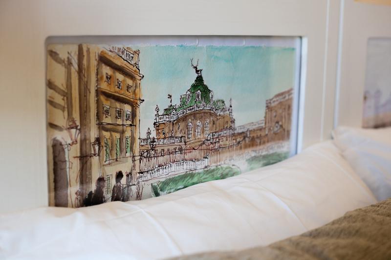 Camera Gran Torino - Testiere con dipinti ad acquerello Palazzina di Caccia di Stupinigi