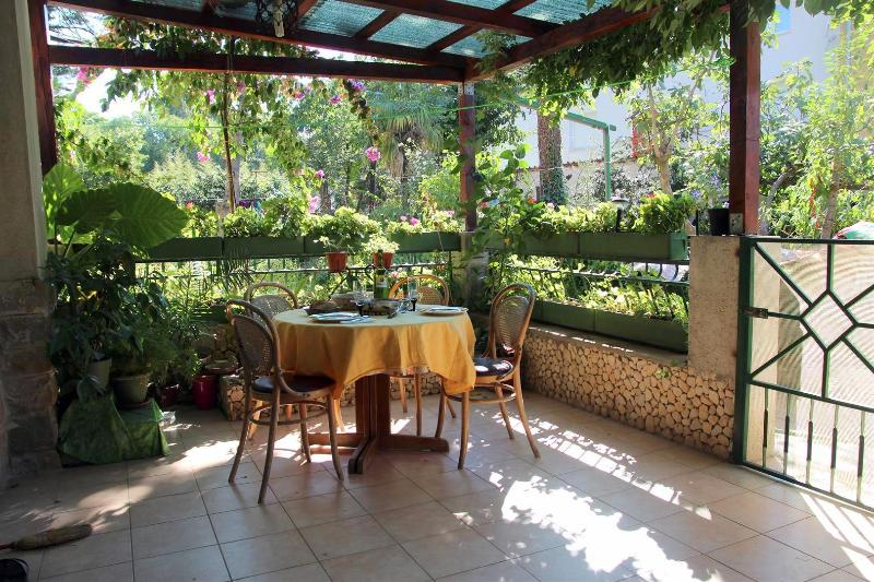 Our terrace is in a flowery shadow, it is a wonderful place to sit and enjoy :-)