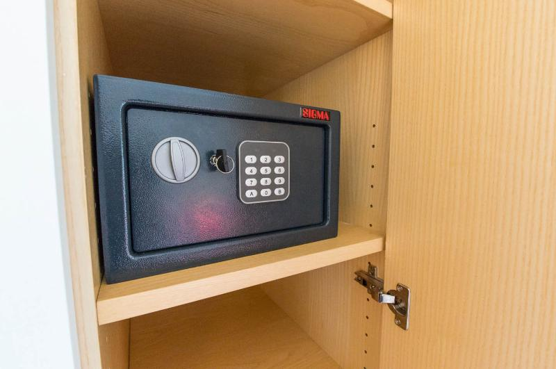 in closet is a small safe in which you can put your valuable belongings...