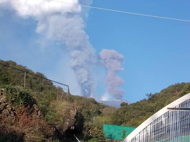 Etna erupting - safely viewed from the garden