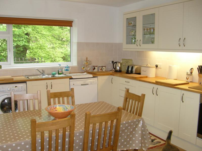 Fully equipped large kitchen diner with views over the river Colwyn to Moel Hebog