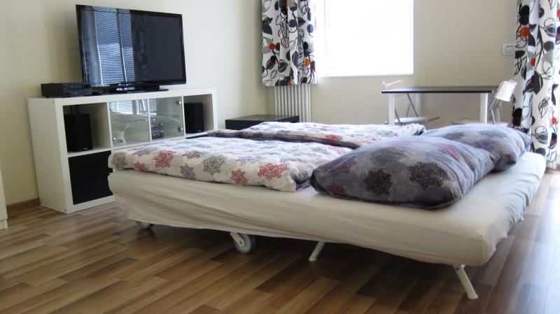 Pliage canapé avec matelas confortable (dimensions 160 cm x 200 cm).