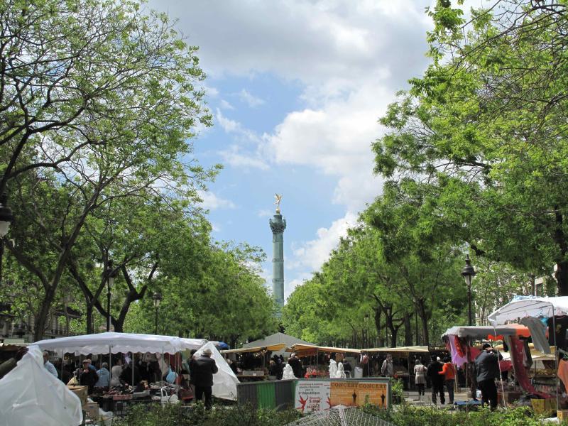 Boulevard Richard Lenoir, 100 m van het appartement, grote typische markt elke zondag en zaterdag