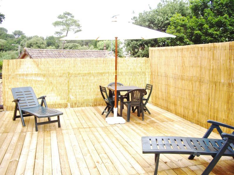 Grande terrasse privative exposée sud sur toit-terrasse avec transats et bains de soleil