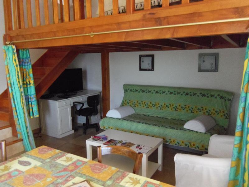 Côté séjour avec canapé convertible (literie de qualité). Au-dessus : mezzanine avec lit 2 places