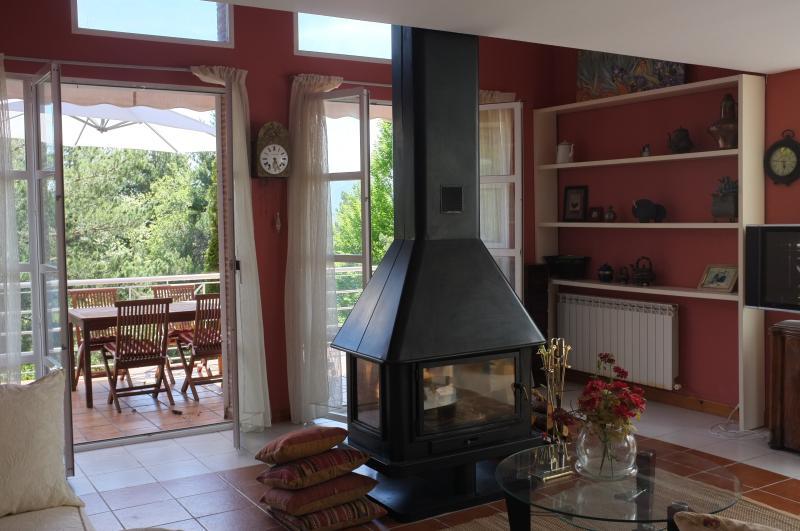 Luminoso salón con chimenea con acceso a la terraza y al jardín
