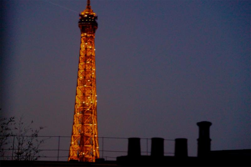 Vue sur la tour Eiffel depuis les fenêtres de l'appartement