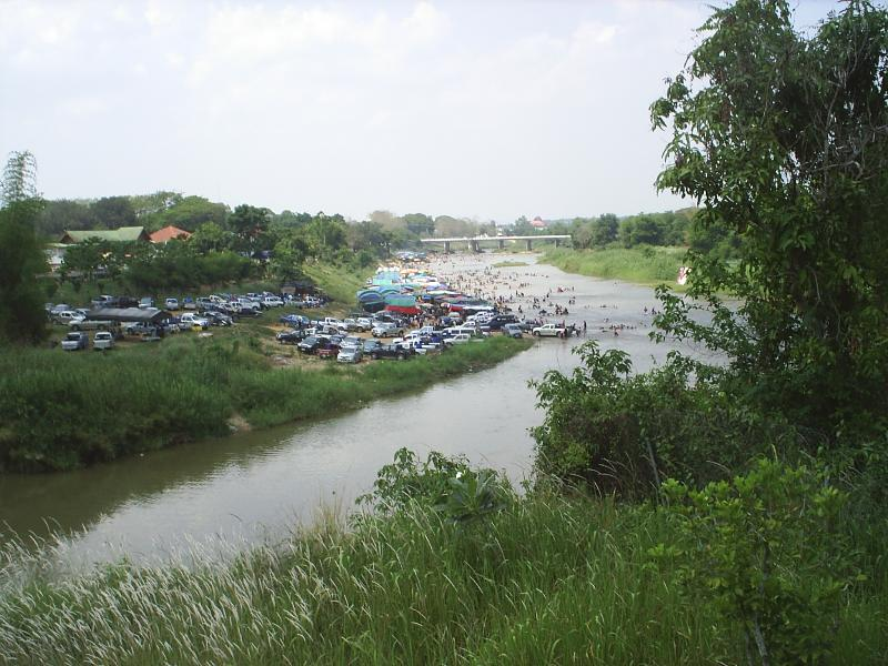 SONGKRAN RIVER FESTIVITIES FROM TERRACE