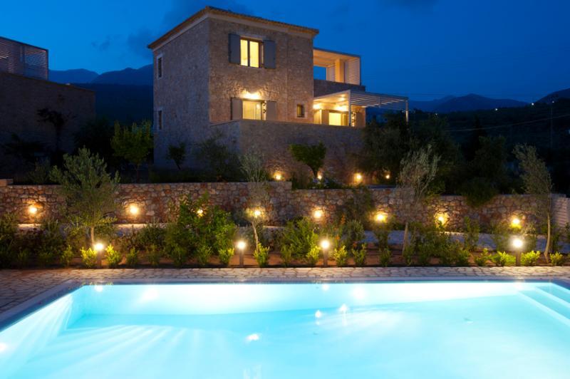 Stone Villa by night.