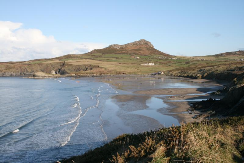 Whitesand Bay and view across to Carn Llidi