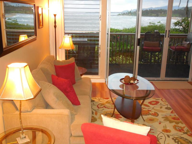 Watch and listen to the ocean waves from your private Lanai or from the living room