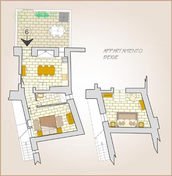 Planimetria appartamento con cucina, salotto, stanza e servizio; terrazzo con zona pranzo