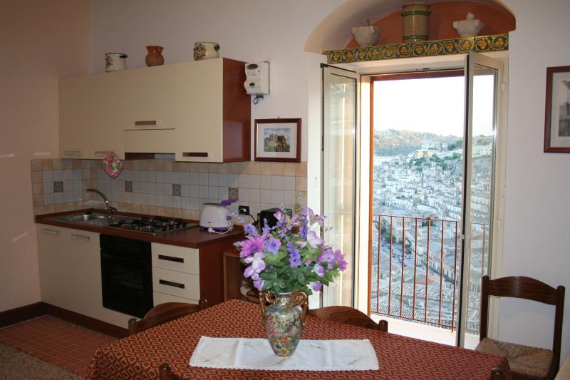 kitchen with balcon