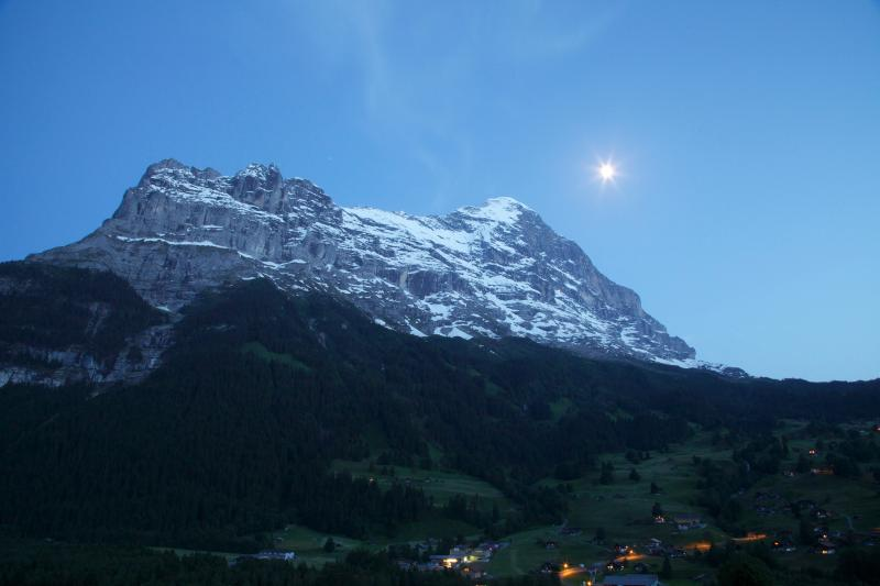 The Eiger view at dusk from the Attic's large balcony
