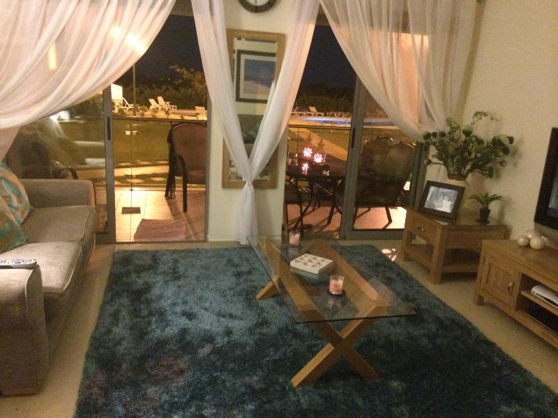 Lounge area at night