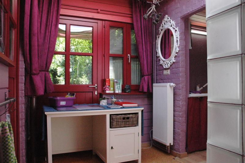 desk to read or write on + central heating under the mirror