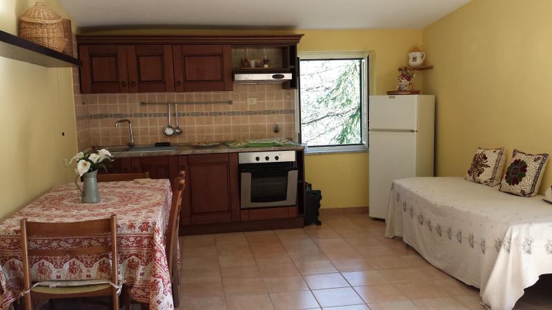 kitchenette and refrigerator