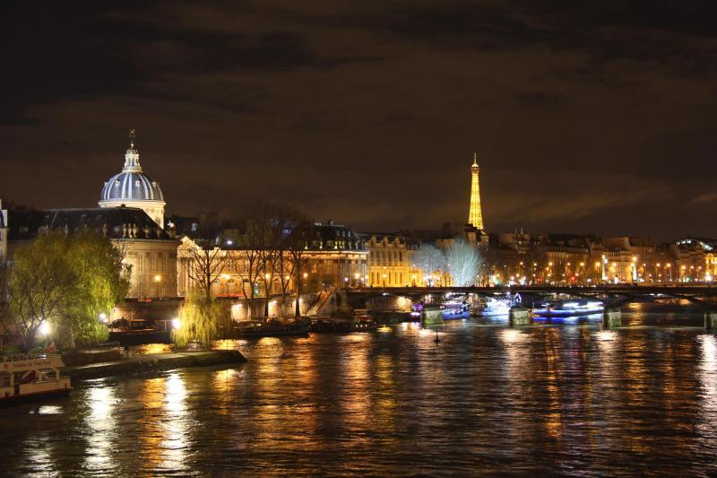 Night view from the Pont Neuf, oldest bridge in Paris near by the apartment