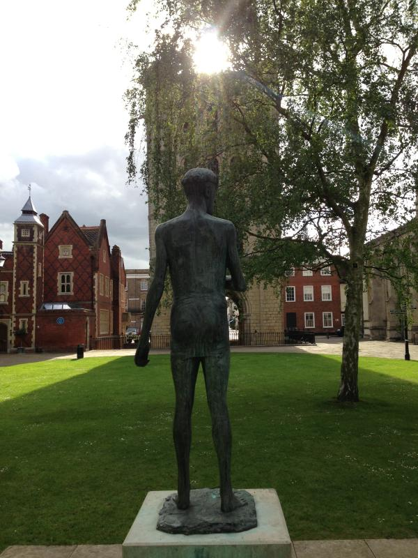 The Elizabeth Frink statue of St Edmunds in the Abbey Gardens