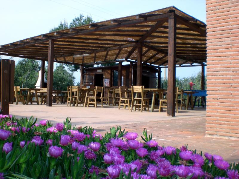 area ristoro con barbecue e giochi
