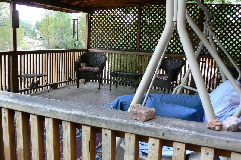 Front porch, swing, 2 chairs, love seat