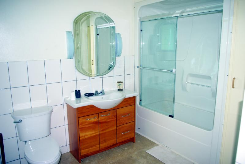 Master bedroom ensuite includes one of the few baths in Samoa!