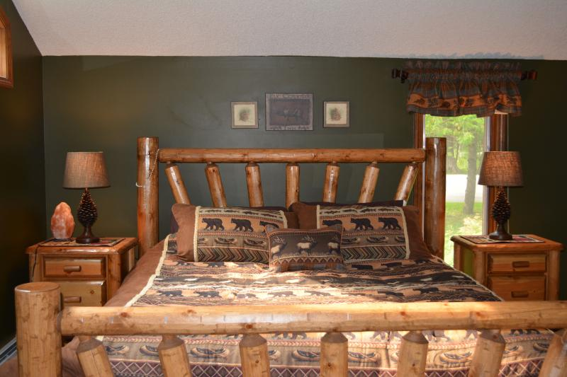 Master bedroom king bed, all new white pine log furniture