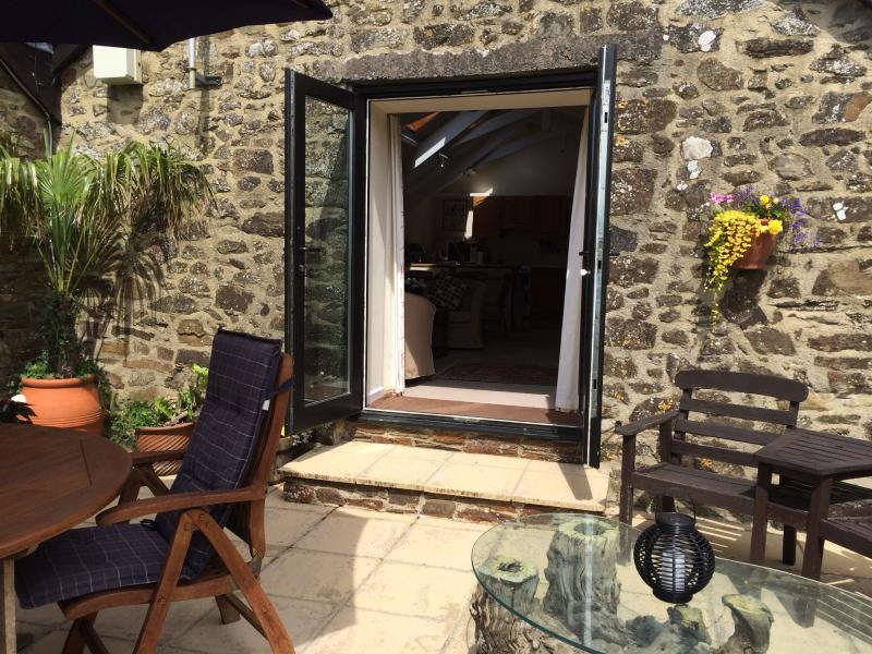 Double doors lead on to private patio