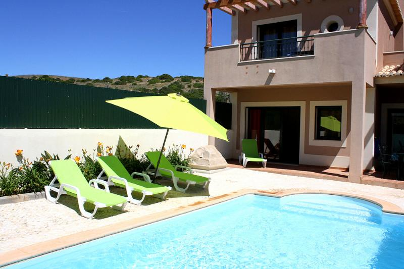 Private pool of the end villa at the edge of the village next to the unspoilt Natural Parque.
