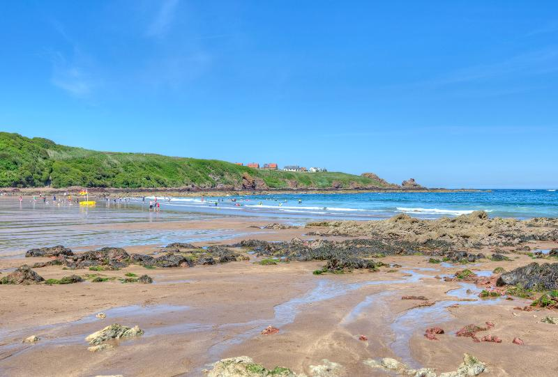 Coldingham Bay, sandy, great for surfing and plenty of rock pools too.