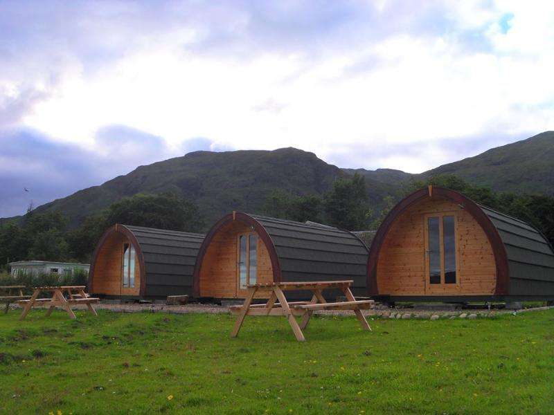 Glamping Pods sighted on croftland overlooking Loch Linnhe and the mountains beyond