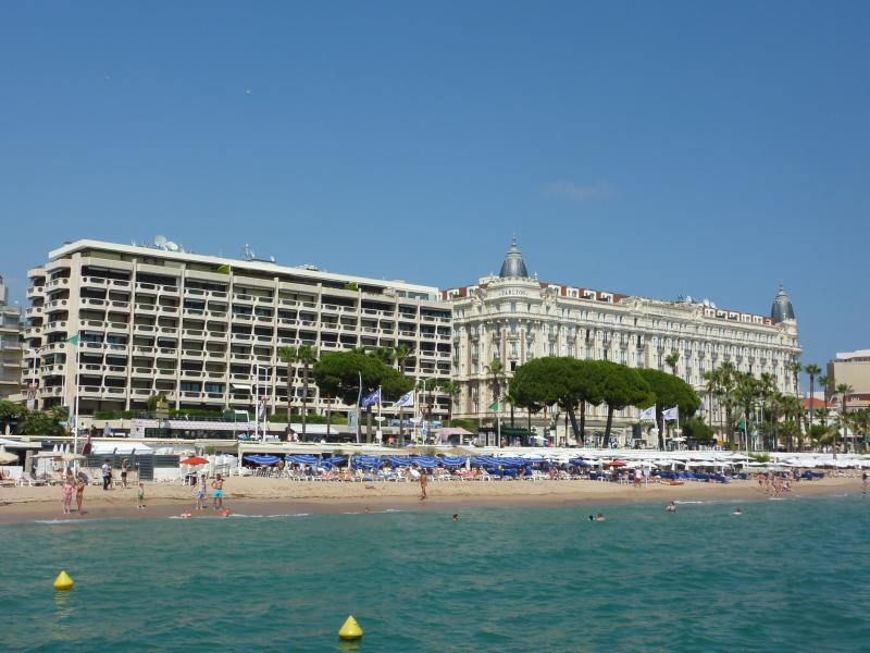 The Croisette seen from a pontoon out across the sea