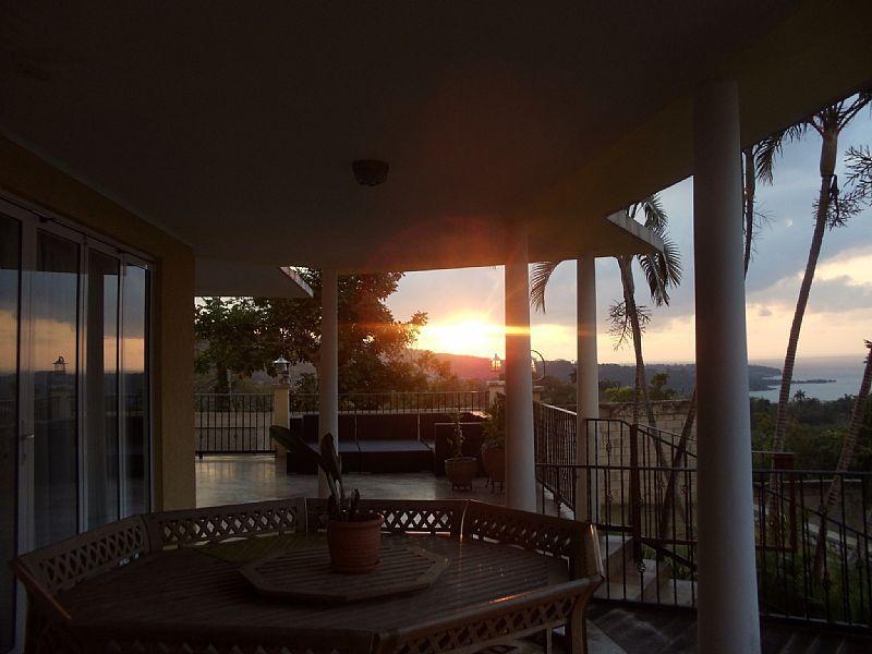 A sun set view form the porch