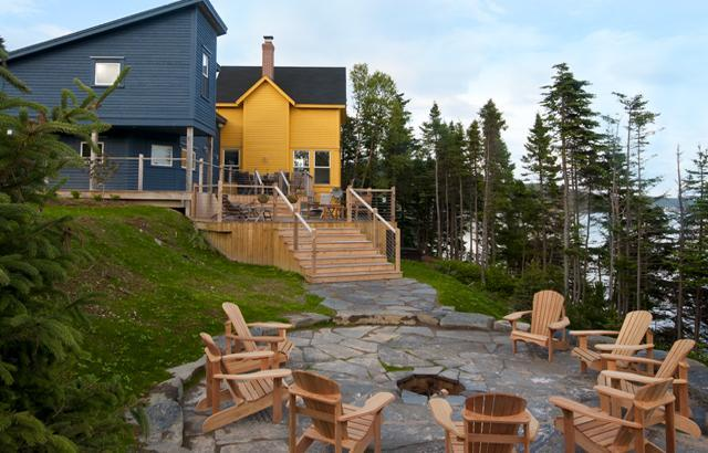 Inspired by a ship deck, Goose Cove Retreat has upper and lower decks, and a bonfire pit.