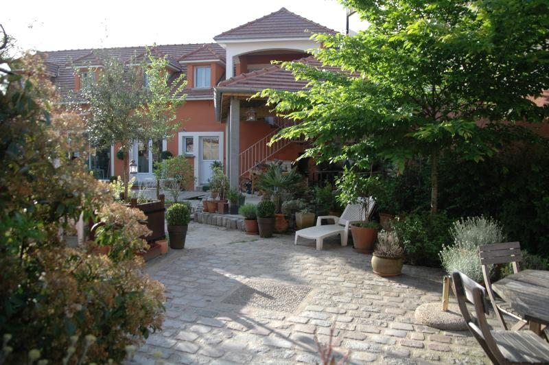 Notre maison d'hôtes et sa cour d'inspiration méditerranéenne...